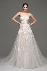 Fantastic A Line Strapless Champagne Satin Tulle Lace Wedding Dress Corset Back