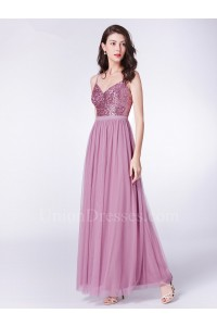 Beautiful V Neck Spaghetti Straps Sequined Bodice Dusty Rose Tulle Prom Bridesmaid Dress