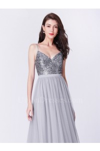 Beautiful V Neck Spaghetti Straps Sequined Bodice Grey Tulle Skirt Prom Bridesmaid Dress