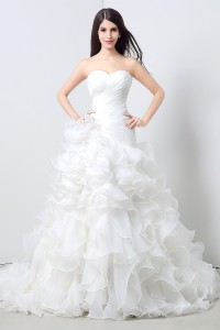 Simple Lovely Mermaid Strapless Organza Ruffle Wedding Dress Corset Back
