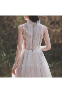 Boho High Neck Pleated Tulle A Line Wedding Dress With Appliques Pearl Buttons