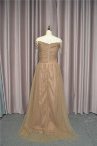 Stunning A Line Ruched Prom Party Dress With Crystals Off The Shoulder Brown Tulle