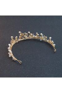 Vintage Gold Alloy Crystal Pearl Wedding Bridal Tiara Crown