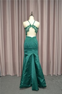 Beautiful Mermaid Prom Party Dress Halter Open Back Green Lace