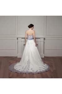Stunning Ball Gown Sweetheart Corset Beaded Lavender Appliques White Tulle Wedding Dress With Ruffles back