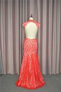 Elegant Mermaid Red Lace Prom Party Dress V Neck Cap Sleeves Open Back