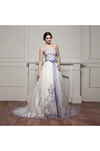 Stunning Ball Gown Sweetheart Corset Beaded Lavender Appliques White Tulle Wedding Dress With Ruffles