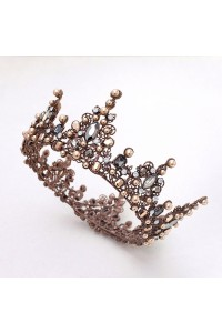 Vintage Brown Alloy Diamond Pearl Wedding Bridal Tiara Crown