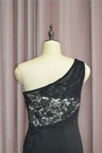 Elegant Beaded Sheath Prom Party Dress One Shoulder Side Slit Black Lace