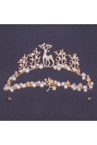 Beautiful Gold Alloy Crystal Pearl Reindeer Wedding Bridal Tiara Crown
