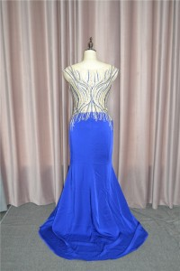 Sparkly Mermaid Prom Party Dress Scoop Cap Sleeves With Crystals