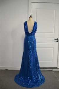Sparkly Sequined Royal Blue Mermaid Prom Party Dress Scoop Low Back Side Slit