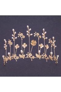 Beautiful Gold Alloy Flower Pearl Wedding Bridal Tiara Crown