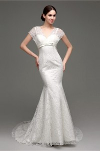 Charming Mermaid V Neck Cap Sleeve Lace Corset Wedding Dress With Sash Bow