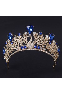 Luxurious Swan Gold Alloy Royal Blue Crystal Wedding Bridal Tiara Crown