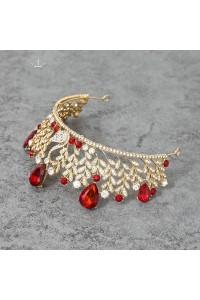 Luxurious Swan Gold Alloy Red Crystal Wedding Bridal Tiara Crown