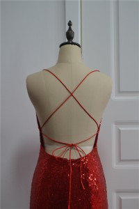 Sparkly Sequined Red Mermaid Prom Party Dress Sweetheart Cross Straps
