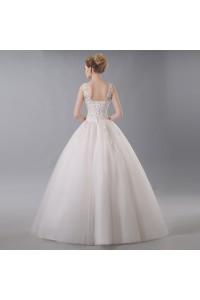 Stunning Ball Gown Boat Neck Corset Crystal Beaded Appliques Ivory Tulle Wedding Dress back