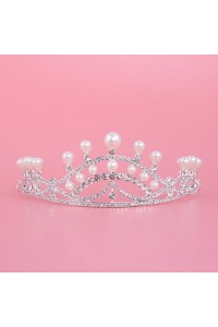 Elegant Alloy Diamond Pearl Wedding Bridal Tiara Crown