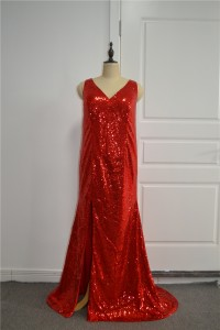 Sparkly Sequined Red Prom Party Dress V Neck With Slit