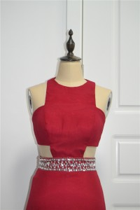 Sexy Mermaid Prom Party Dress High Neck Red Chiffon Crystals With Cutouts