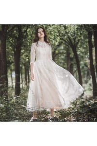 Elegant High Neck 3 4 Sleeve Tea Length Lace A Line Wedding Dress With Collar Buttons