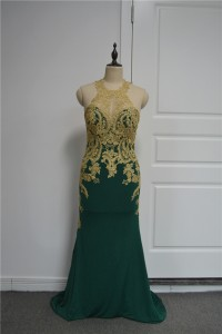 Beautiful Sheath Green Prom Party Dress Scoop Open Back With Gold Lace