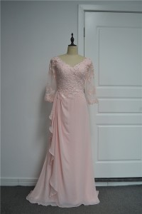 Beautiful A Line Beaded Prom Party Dress V Neck 3 4 Sleeves Pink Chiffon Lace