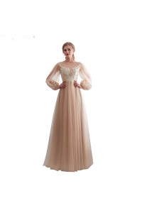 Stunning A Line Boat Neck Long Sleeve Champagne Tulle Wedding Dress With Appliques