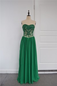 Sexy Beaded See Through A Line Prom Party Dress Sweetheart Corset Green Chiffon Lace