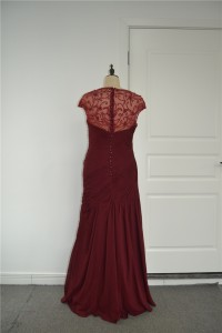 Beautiful Beaded Mermaid Prom Evening Dress Sweetheart Cap Sleeves Burgundy Chiffon