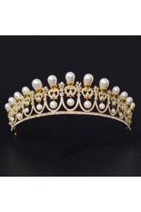 Vintage Gold Alloy Diamond Pearl Wedding Bridal Tiara Crown