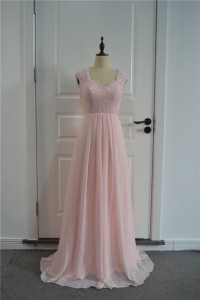 Elegant Prom Bridesmaid Dress Queen Anne Neck Cap Sleeves Sheer Back Pink Chiffon Lace