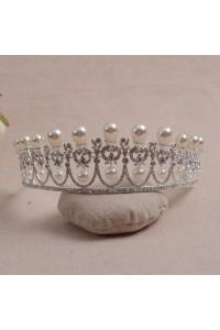 Vintage Alloy Diamond Pearl Wedding Bridal Tiara Crown