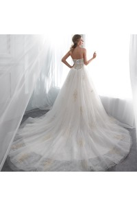 Stunning Ball Gown Sweetheart Corset Ivory Lace Tulle Wedding Dress With Champagne Appliques back