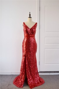 Sparkly Sequined Red Mermaid Prom Evening Dress V Neck Side Slit