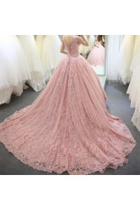 Stunning Ball Gown Scoop Corset Beaded Pink Lace Wedding Dress back