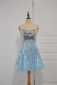 Sparkly Sequined Blue A Line Homecoming Party Dress Sweetheart Corset