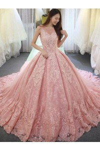 Stunning Ball Gown Scoop Corset Beaded Pink Lace Wedding Dress