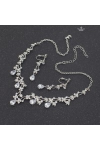 Gorgeous Alloy Crystal Wedding Jewelry Set Including Necklace Earrings