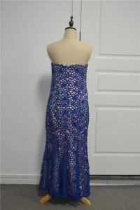 Elegant Sheath Prom Party Dress Sweetheart Sleeveless Royal Blue Lace