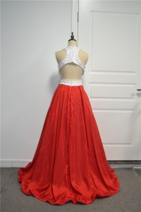 Beautiful Two Tone Ball Gown Prom Party Dress High Neck Open Back White Lace Red Taffeta