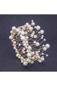 Elegant Gold Alloy Pearl Wedding Bridal Prom Homecoming Tiara Crown