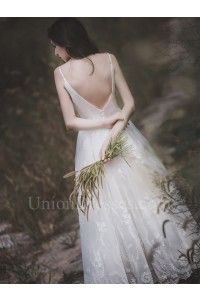 Elegant V Neck Low Back Long A Line Tulle Wedding Dress With Appliques Buttons No Train