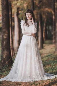 Modest High Neck Long Sleeve Lace A Line Wedding Dress With Ruffles Pearls