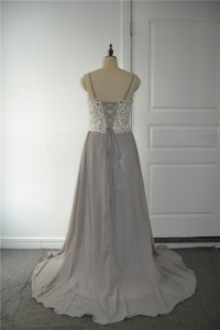 Sparkly Beaded A Line Prom Party Dress Sweetheart Spaghetti Straps Side Slit Grey Chiffon