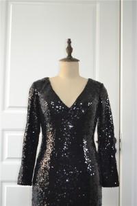 Sparkly Sequined Black Mermaid Prom Evening Dress V Neck Long Sleeves Side Slit