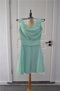 Beautiful A Line Ruched Green Bridesmaid Dress Sleeveless