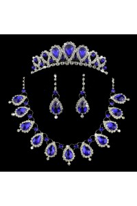 Gorgeous Crystal Prom Homecoming Jewelry Set Including Necklace Earrings Crown