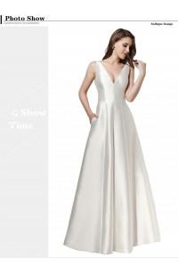 Simple Elegant A Line V Neck Plain White Satin Wedding Dress